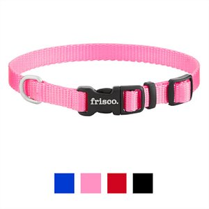 Frisco Solid Nylon Dog Collar, Pink, X-Small: 8 to 12-in neck, 3/8-in wide; **Remember to measure your pet for the paw-fect fit.** The Frisco Solid Nylon Dog Collar is a classic yet stylish collar that comes in a variety of colors and sizes so you can find just the right one for your dog. Designed for everyday wear, this collar prepares your pup for adventures outdoors and provides comfort and security during your daily walks. It comes in multiple sizes with adjustable slides so your furry friend can have the perfect fit. This is also a great feature for puppies that may still be growing. When your pup is waiting at the front door, hinting for a walk outside, this collar goes on with little effort so you won't spend tons of time getting ready. To easily and securely attach your pup's leash, simply clip it onto the D-ring, and you're all set. It's made for durability and has been lab tested to withstand up to seven times the maximum recommended weight for each size. For a clean, polished look, this collar is made with sleek, nickel-coated hardware, and the plastic buckle is curved for your dog's comfort. Frisco Solid Nylon Collars come in the same standard and vibrant color options as Frisco Solid Nylon Dog Leashes, so you can mix and match or color coordinate to fit your dog's unique style.