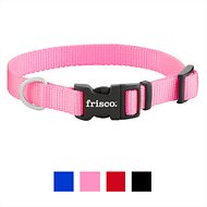 Frisco Solid Nylon Dog Collar, Pink, Small: 10 to 14-in neck, 5/8-in wide