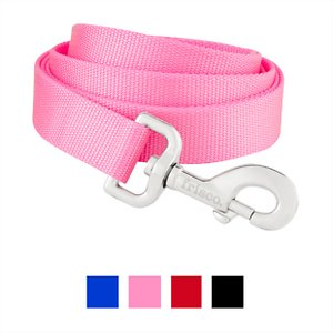 Frisco Solid Nylon Dog Leash, Pink, Large: 6-ft long, 1-in wide; Durability meets functionality with the Frisco Solid Nylon Dog Leash. This classic leash is made from a high-quality, woven nylon material and is great for everyday walks with your furry friend. Whether you're headed to a doggie playdate or just adventuring around the block, this leash will keep your pup close by your side. The easy-to-use bolt snap securely attaches to any collar or harness, and it's nickel-coated for a sleek, polished look. Staying in control throughout your walks will feel effortless with the handy loop that's comfortable to grip. Leashes come in either 4- or 6-foot lengths and widths from 3/8 to 1 inch, so you're sure to find just the right size that works for you and your pup. Frisco Solid Nylon Dog Leashes come in the same standard and vibrant color options as Frisco Solid Nylon Dog Collars, so you can color coordinate or mix and match to fit your dog's unique style.
