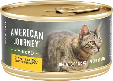 1. American Journey Minced Chicken & Salmon Recipe Cat Food
