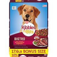 Kibbles 'n Bits Bistro Oven Roasted Beef Flavor Dry Dog Food, 17.6-lb bag