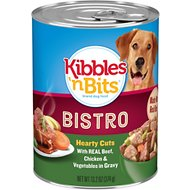 Kibbles 'n Bits Bistro Hearty Cuts with Real Beef, Chicken & Vegetables in Gravy Canned Dog Food, 13.2-oz, case of 12