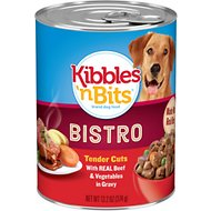 Kibbles 'n Bits Bistro Tender Cuts with Real Beef & Vegetables in Gravy Canned Dog Food, 13.2-oz, case of 12