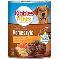 Kibbles 'n Bits Homestyle Meatballs & Pasta Dinner with Real Beef in Tomato Sauce Canned Dog Food, 13.2-oz, case of 12