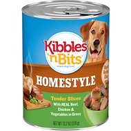 Kibbles 'n Bits Homestyle Tender Slices with Real Beef, Chicken & Vegetables in Gravy Canned Dog Food, 13.2-oz, case of 12