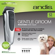Andis Gentle Groom Detachable Blade Dog & Cat Clipper Kit, Silver/Black