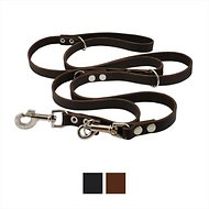 Dogs My Love 6 Way European Multifunctional Leather Dog Leash, Brown