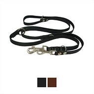 Dogs My Love 6 Way European Multifunctional Leather Dog Leash, Black