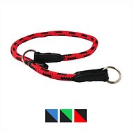 Dogs My Love Nylon Round Braided Rope Dog Collar, Red & Black, 16-in