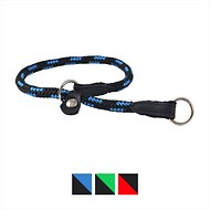 Dogs My Love Nylon Round Braided Rope Dog Collar, Blue & Black, 20-in