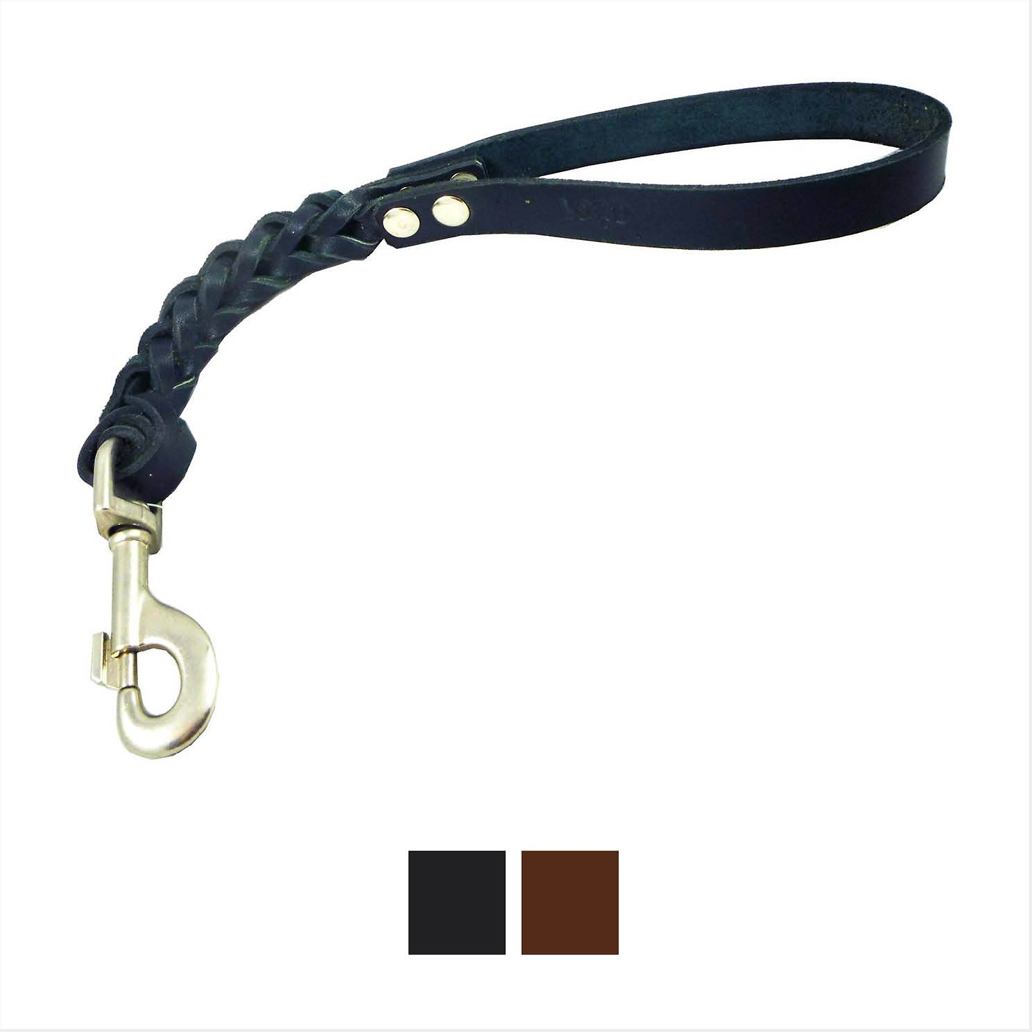Braided Leather Short Dog Leash