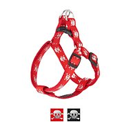 Sassy Dog Wear Reflective Skull Dog Harness, Small, Red