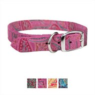 OmniPet Paisley Leather Dog Collar, Pink, 14-in