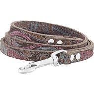 OmniPet Paisley Leather Dog Leash, 4-ft, 1/2-in, Chocolate