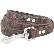 OmniPet Paisley Leather Dog Leash, Chocolate, 4-ft, 3/4-in