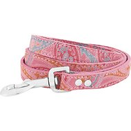 OmniPet Paisley Leather Dog Leash, Pink, 4-ft, 3/4-in