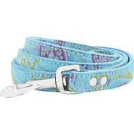 OmniPet Paisley Leather Dog Leash, Turquoise, 4-ft, 3/4-in