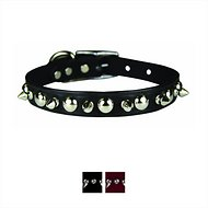 OmniPet Spiked & Studded Latigo Leather Dog Collar, Black, 18-in