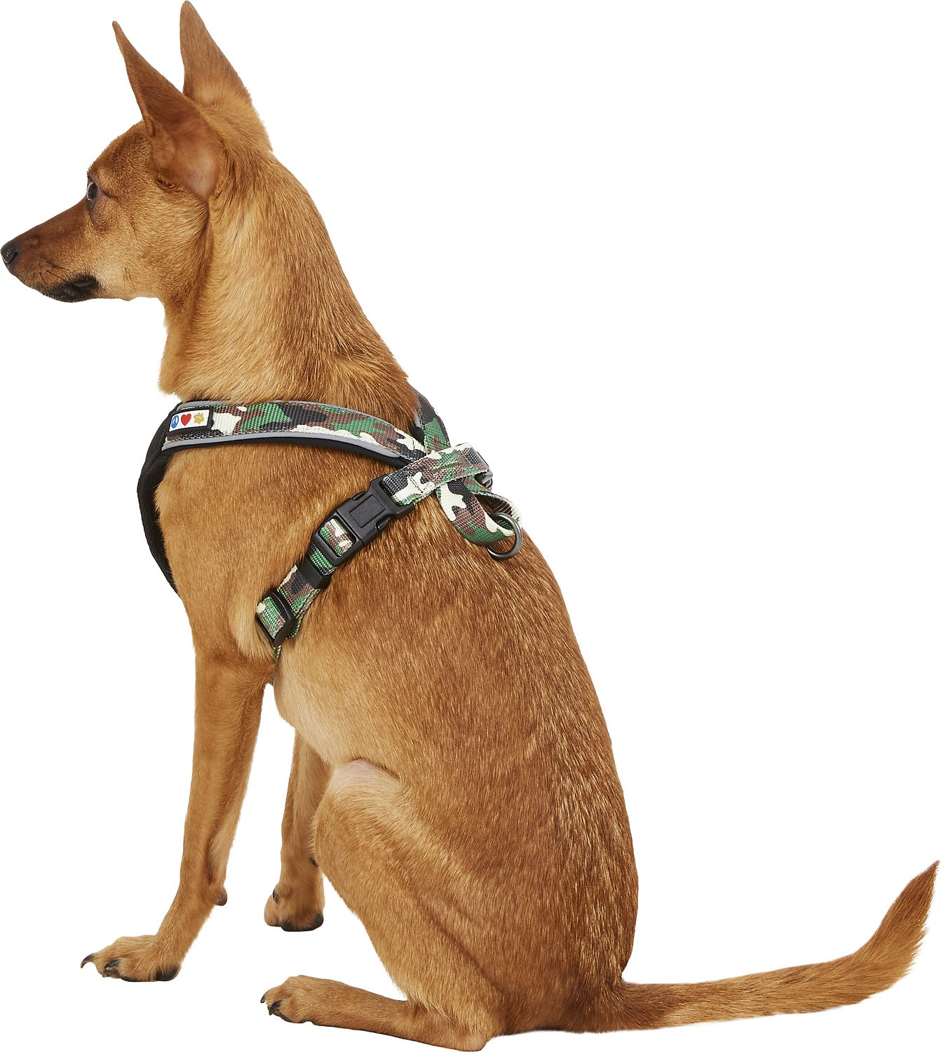 Pawtitas Camouflage Reflective Padded Dog Harness  Green