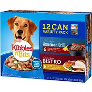 Kibbles 'n Bits Chef's Choice American Grill & Bistro Variety Pack Canned Dog Food, 13.2-oz, case of 12