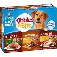 Kibbles 'n Bits Chef's Choice Bistro & Homestyle Variety Pack Canned Dog Food, 13.2-oz, case of 12