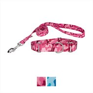 Country Brook Design Bone Camo Martingale Dog Collar & Leash, Pink, Small