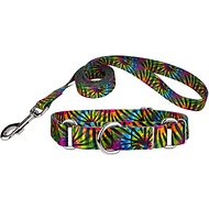 Country Brook Design Martingale Dog Collar & Leash, Tie-Dye Stripes, Medium