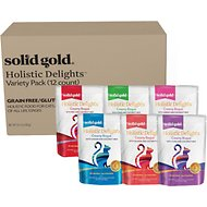 Solid Gold Holistic Delights Creamy Bisque with Coconut Milk Variety Pack Grain-Free Cat Food Pouches, 3-oz, case of 12