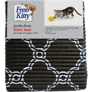 Fresh Kitty Jumbo Foam Quatrefoil Cat Litter Mat, Black & White