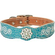 Weaver Pet Snowflake Leather Dog Collar, 15-inch