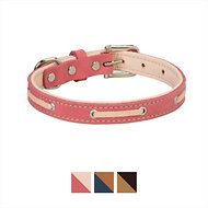 Weaver Pet Deck Leather Dog Collar, Coral/Natural, 13-in