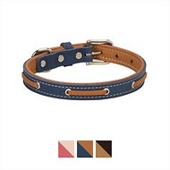 Weaver Pet Deck Leather Dog Collar, Navy/Tan, 12 - 14.5 in