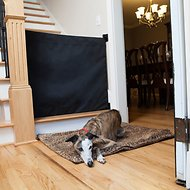 The Stair Barrier Wall to Banister Indoor & Outdoor Fabric Pet Gate, Black, Wide