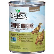 Purina Beyond Simple Origins Grain-Free Farm-Raised Chicken & Pea Recipe Ground Entree Dog Food, 13-oz, case of 12
