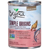 Purina Beyond Simple Origins Grain-Free Farm-Raised Chicken, Wild Alaskan Salmon & Spinach Recipe Ground Entree Dog Food, 13-oz, case of 12