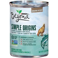 Purina Beyond Simple Origins Farm-Raised Chicken, Pacific Cod & Carrot Grain-Free Recipe Ground Entree Dog Food, 13-oz, case of 12