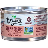 Purina Beyond Simple Origins Grain-Free Wild Alaskan Salmon & Spinach Recipe Cat Food, 3-oz, case of 12