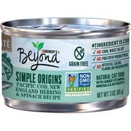 Purina Beyond Simple Origins Grain-Free Pacific Cod, New England Herring & Spinach Recipe Cat Food, 3-oz, case of 12