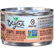 Purina Beyond Simple Origins Farm-Raised Chicken, Wild Caught Shrimp & Carrot Grain-Free Recipe Cat Food, 3-oz, case of 12