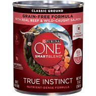 Purina ONE SmartBlend True Instinct Classic Ground with Real Beef & Wild-Caught Salmon Dog Food, 13-oz, case of 12