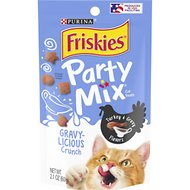 Friskies Party Mix Crunch Gravy-licious Turkey & Gravy Flavors Cat Treats, 2.1-oz bag