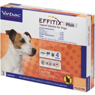 Virbac EFFITIX Plus Topical Solution for Small Dogs 11-22.9 lbs, 3 Treatments