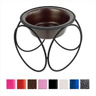 Platinum Pets Olympic Single Elevated Wide Rimmed Pet Bowl, Large, Copper Vein