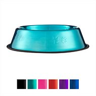 Platinum Pets Stainless Steel Embossed Non-Tip Dog Bowl, Large, Caribbean Teal