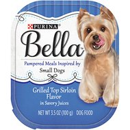 Purina Bella Grilled Top Sirloin Flavor in Savory Juices Small Breed Dog Food Trays, 3-oz, case of 12