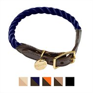 Found My Animal Rope & Leather Dog & Cat Collar, Navy, Small