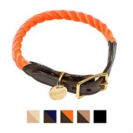 Found My Animal Rope & Leather Dog & Cat Collar, Rescue Orange, Large