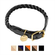 Found My Animal Rope & Leather Dog & Cat Collar, Black, Large