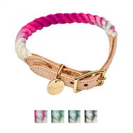 Found My Animal Ombre Rope & Leather Dog & Cat Collar, Magenta, Large