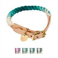 Found My Animal Ombre Rope & Leather Dog & Cat Collar, Teal, Large